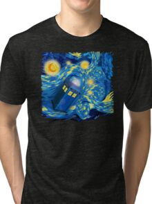 Space and time traveller phone box Starry the night Cartoons Tri-blend T-Shirt