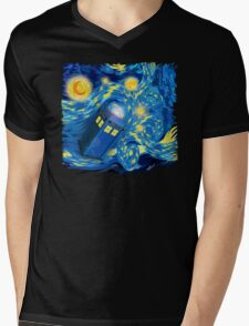Space and time traveller phone box Starry the night Cartoons Mens V-Neck T-Shirt