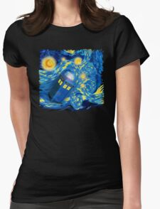 Space and time traveller phone box Starry the night Cartoons T-Shirt