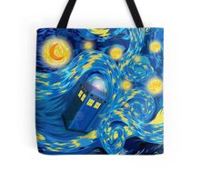 Space and time traveller phone box Starry the night Cartoons Tote Bag