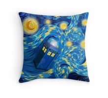 Space and time traveller phone box Starry the night Cartoons Throw Pillow