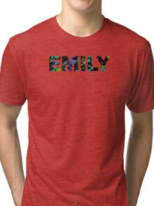 EMILY Paint Splatter Name - Black Background Tri-blend T-Shirt
