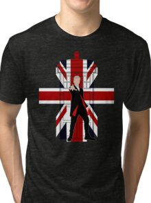 Union Jack British Flag with 12th Doctor Tri-blend T-Shirt