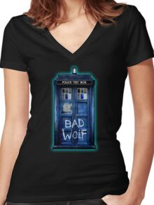 Space And Time traveller Wolf Women's Fitted V-Neck T-Shirt