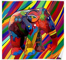 Full color rainbow abstract Elephant Poster