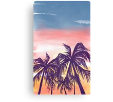 Sunset and Palm Trees Canvas Print