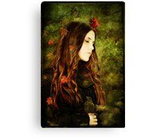 Girl with Blackbird Canvas Print