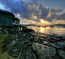 Sunset On The Rocks - Paradise Beach, Sydney - The HDR Experience by Philip Johnson