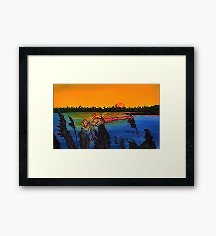 Dragonfly Sunset Framed Print