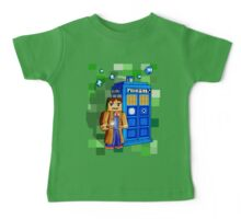 8bit blue phone box with space and time traveller Baby Tee