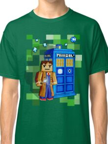 8bit blue phone box with space and time traveller Classic T-Shirt