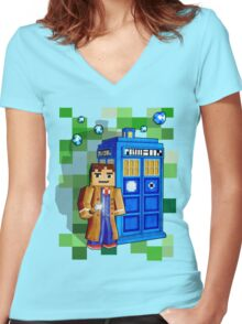 8bit blue phone box with space and time traveller Women's Fitted V-Neck T-Shirt