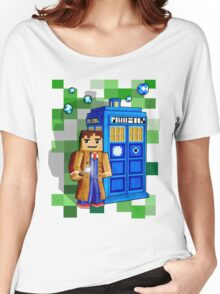 8bit blue phone box with space and time traveller Women's Relaxed Fit T-Shirt