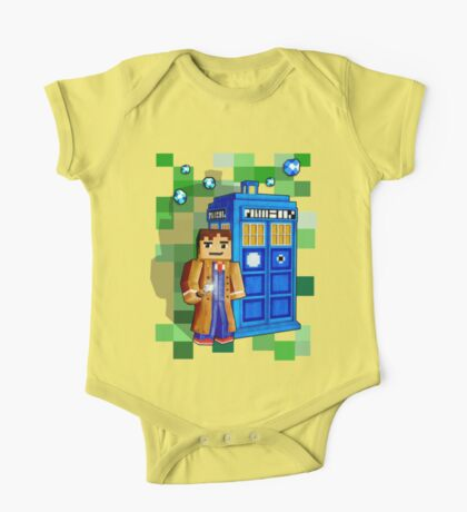 8bit blue phone box with space and time traveller One Piece - Short Sleeve