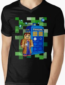 8bit blue phone box with space and time traveller Mens V-Neck T-Shirt