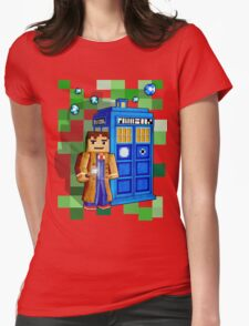 8bit blue phone box with space and time traveller Womens Fitted T-Shirt