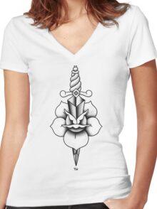 Black & Grey Rose & Dagger Women's Fitted V-Neck T-Shirt