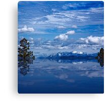 Reflections of snow and mountains Canvas Print