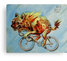 Hyena on a Bicycle Canvas Print