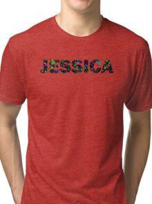 JESSICA Paint Splatter Name - Black Background Tri-blend T-Shirt