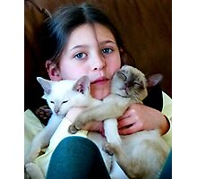 Lauren with a hand full of Kittens. Photographic Print