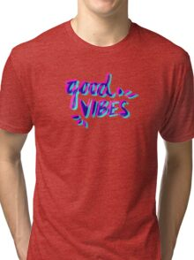 Good Vibes – Magenta & Cyan Tri-blend T-Shirt