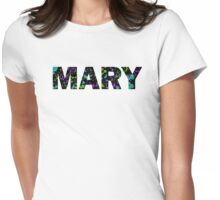 MARY Paint Splatter Name - Black Background Womens Fitted T-Shirt
