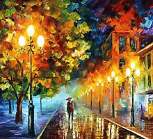 New City - original oil painting on canvas by Leonid Afremov by Leonid  Afremov