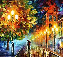 New City - original oil painting on canvas by Leonid Afremov by Leonid  Afremov