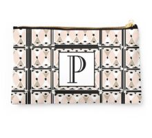 1920s Pink Champagne Gatsby Monogram letter P Studio Pouch