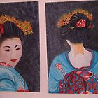 Blue Geisha girl back and front view by sueangel