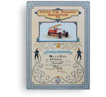 Fire Brigade Certificate  Canvas Print
