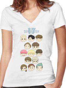 SEVENTEEN Chibi Heads Women's Fitted V-Neck T-Shirt