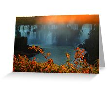 Sunset at Iguassy Falls Greeting Card