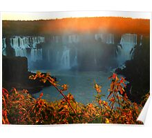 Sunset at Iguassy Falls Poster