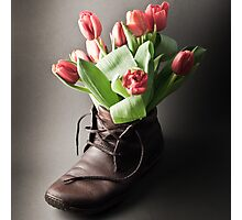 Flowers in boot Photographic Print