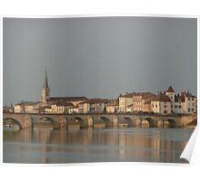 Village on the Saône River France  Poster