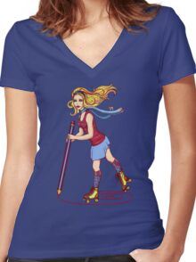 Roller Sketching Women's Fitted V-Neck T-Shirt