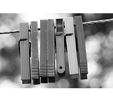 Clothespins on wire Photographic Print