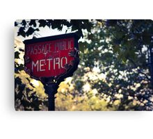 Metro Sign In Paris Canvas Print
