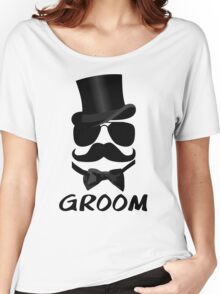 Funny Groom Mustache Top Hat Bow Tie Aviators Women's Relaxed Fit T-Shirt