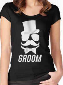 Funny Groom Mustache Top Hat Bow Tie Aviators Women's Fitted Scoop T-Shirt
