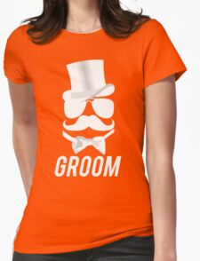 Funny Groom Mustache Top Hat Bow Tie Aviators Womens Fitted T-Shirt