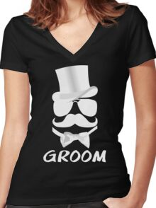 Funny Groom Mustache Top Hat Bow Tie Aviators Women's Fitted V-Neck T-Shirt