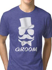 Funny Groom Mustache Top Hat Bow Tie Aviators Tri-blend T-Shirt