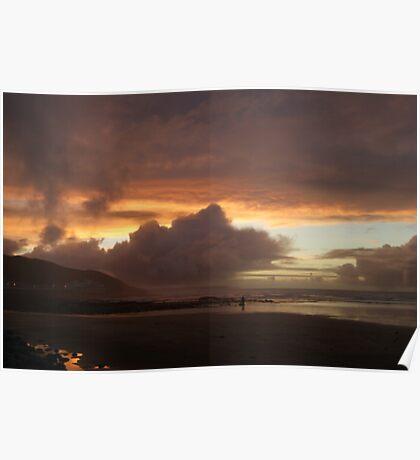 Sunset over Westward Ho! Poster