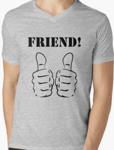 FRIEND! Mens V-Neck T-Shirt