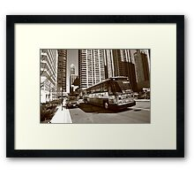 Chicago Bus and Buildings Framed Print