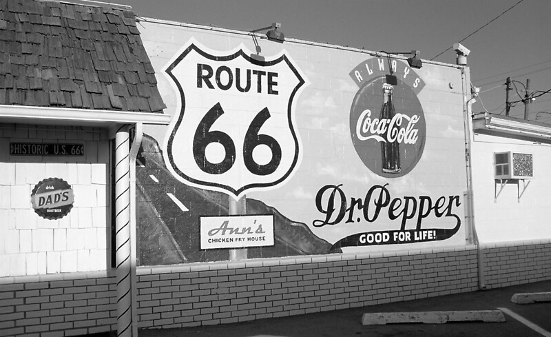 Route 66 mural with shield posters by frank romeo for Route 66 mural