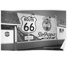 Route 66 - Mural with Shield Poster